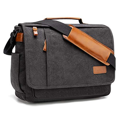 Estarer ショルダーバッグ メンズ メッセンジャーバッグ 帆布 大容量 斜め掛け 肩掛け 14インチ a4サイズ対応 人気 ポケット18個 サイドポケット