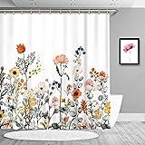 True Holiday Dekorativer Duschvorhang für Badezimmer, Blumen- & Blatt-Design, wasserdichter Stoff, mit 12 Vorhanghaken, 180 x 180cm Blütenblatt