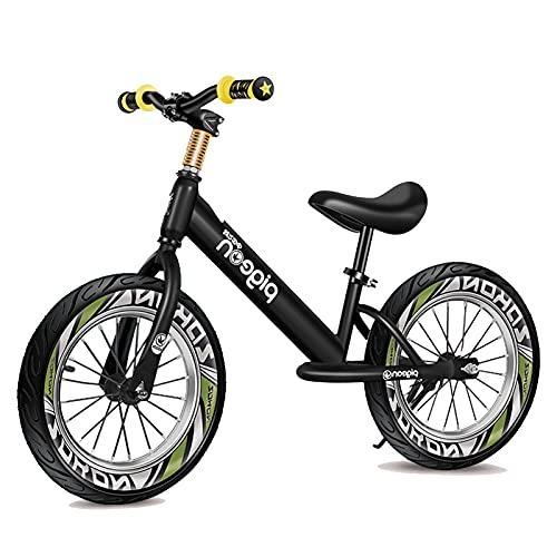 Bicicletas sin Pedales Bicicleta de Equilibrio para Niños con Neumáticos de Aire de 16 Pulgadas, Bicicleta Sin Pedales para Niños Pequeños, Reposapiés Grande, Altura 118-150 cm ( Color : Black-green )