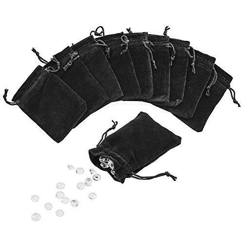 3' x 4' Black Velveteen Sack Pouch Bags for Jewelry, Gifts, Event Supplies (50 Pouches)