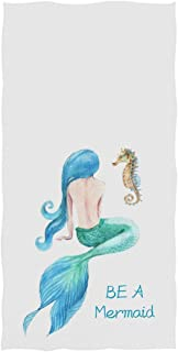Naanle Cute Beautiful Mermaid Silhouette Fresh Print Soft Guest Hand Towels Multipurpose for Bathroom, Hotel, Gym and Spa (16 x 30 Inches)