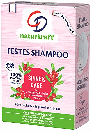 CD Festes Shampoo Bio-Mandelmilch und Cranberry für trockenes & glanzloses Haar, 75 g, nachhaltige Haarseife, pflegendes Haarshampoo ohne Mikroplastik, vegan