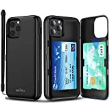 SKINU Card Case for iPhone 12 Case (2020) / Designed for iPhone 12 Pro Case (2020) with Credit Card Holder ID Slot Wrist Strap Inner Mirror - Black