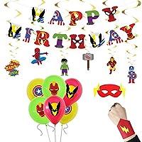 Fun+ 誕生日風船セット 飾り付け アベンジャーズ 風船 飾り happy birthday ガーランド 螺旋 スーパーヒーロー 風船 手首サポーター