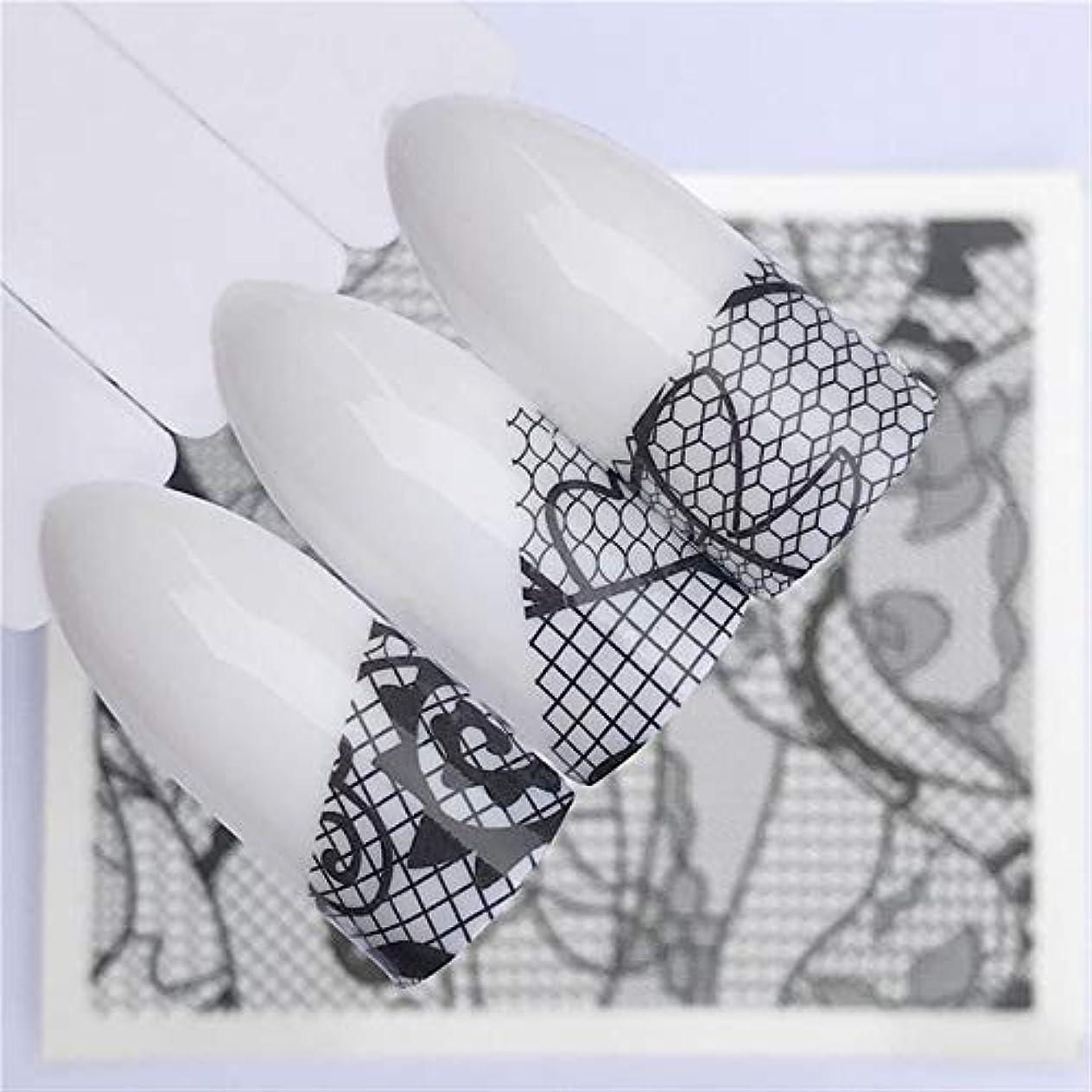 無能濃度シエスタレースフラワーデザイン ネイルステッカーデカール水転写ホワイトブラックヒント女性化粧入れ墨、Yzw-A645