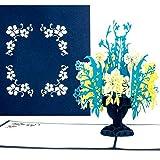 'Carte pop-up Fleur Vase | Bouquet 'Melina Bleu & Jaune–Fleur Carte, carte d'anniversaire, cartes de bon d'achat, 3D, bon d'achat Carte, Pop Up Cartes Carte, carte du Jubilé, comme Argent, cadeau Prompt rétablissement, bon rétablissement Carte de vœux