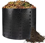 Ciskotu Compostador para Exterior 800L, Papelera De Compostaje para JardíN, Compostador Extensible con 4 Varillas de Soporte, Compostera Organica Producción Humus abono, Negro