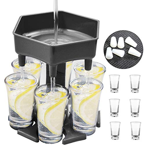 6 Shot Glass Dispenser, Shot Buddy Dispenser with Glasses Liquor Dispenser Beverage Dispenser and Holder with Stoppers for Filling Liquids Cocktail Carrier Gifts Bar Drink Dispenser for Parties
