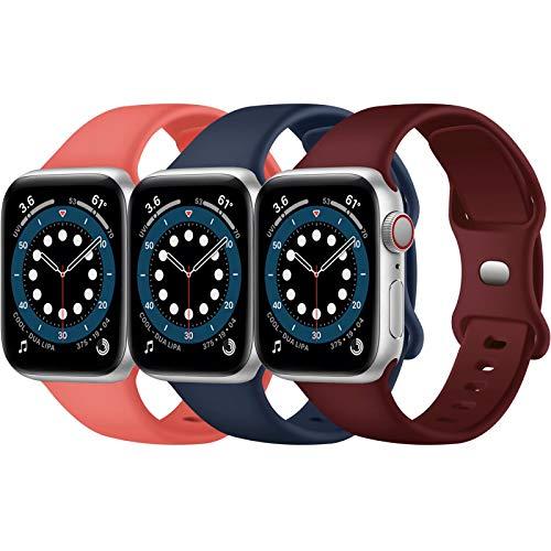 Paquete de 3 correas para Apple Watch compatibles con Apple Watch 38 mm, 42 mm, 40 mm, 44 mm, correa de silicona suave para relojes deportivos, compatible con iWatch SE Series 6 5 4 3 2 1(D, 38/40)