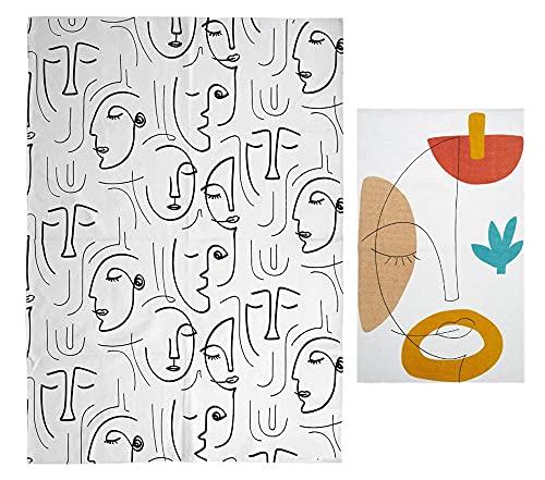 Lot de 2 Tapis contemporains Design, Collection Arty, 170 x 120 cm et 50 x 80 cm. Les Motifs Visages stylisés sur Fond Blanc cassé confèrent Une décoration Artistique d'Avant-Garde et novatrice.