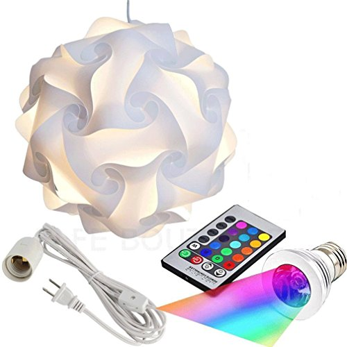 Puzzle Lights with Lamp Cord Kits and Remote Control Bulb, Self DIY Assembled Puzzle Lights Mordem Lampshade IQ Lamp Shades M Size Home Decor Light (white)