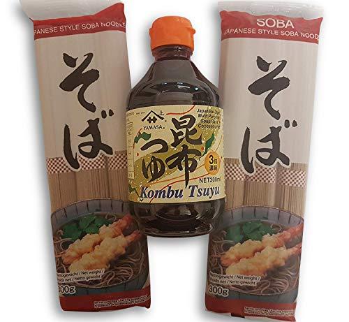 2 x japanische Soba Nudeln Buchweizen-Nudeln, Udon, Ramen-Nudeln, Kombu Tsuyu Sauce Konzentrat Soße Zutaten Grundzutaten
