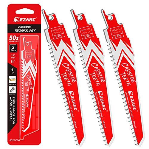 EZARC Carbide Reciprocating Saw Blades 6-Inch, Endurance Sabre Saw Blade Set for Hard Wood and Metal Demolition 6TPI, 3-Pack R656HM