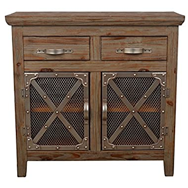 Décor Therapy FR6353 Chicken Wire Cabinet, Distressed Brown