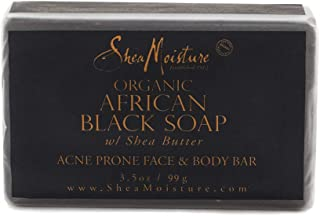SheaMoisture Face & Body Bar for Oily, Blemish-Prone Skin African Black Soap to Clarify Skin 3.5 oz (764302270003)