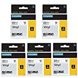 5 Pack Compatible Label Tape Replacement for DYMO Rhino 18444 Tapes Industrial Permanent Vinyl Label Tapes 12mm Black on White 1/2 inch x 18 feet Compatible with DYMO Rhino 5200 4200 Label Maker