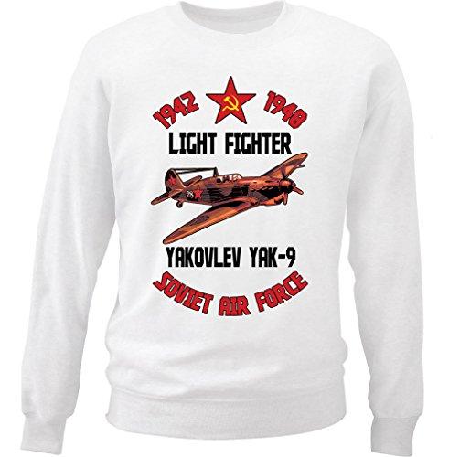 teesquare1st Men's YAKOVLEV Yak-9 Soviet AIR Force White Sweatshirt Size XXLarge