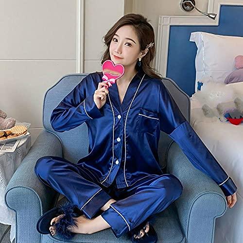 Gbrand Nuevos Pijamas para Mujer Primavera Color sólido Manga Larga Seda con Cuello en V Conjunto de Ropa de Dormir Conjuntos de Pijamas de Seda Conjunto de Pijamas de niña Joven-XL_60-70KG
