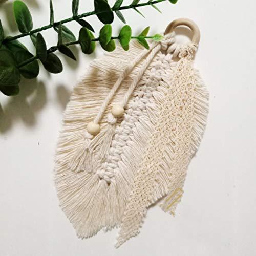 Manteles individuales,Manteles individuales de estilo nórdico tejidos a mano, borlas de cuerda de algodón, elegantes tapetes aislantes del calor y posavasos tipo hoja de 4 piezas