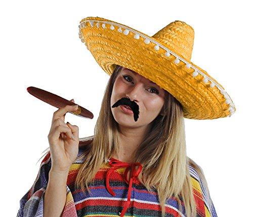 I LOVE FANCY DRESS LTD 12 sombreros mexicanos naranja y 12 bigotes más 12 paja de cigar