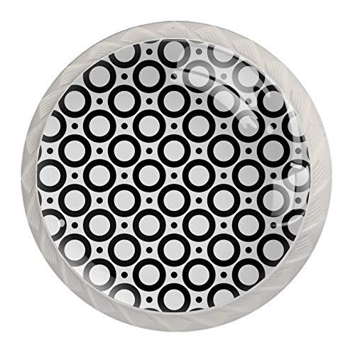 [4 pz]Manopole per armadio da cucina in tinta unita, quadrate per cassetti e armadietti, tira i cerchi a puntini geometrici