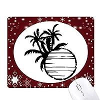 ブラック・ビーチに椰子の木のシルエット オフィス用雪ゴムマウスパッド