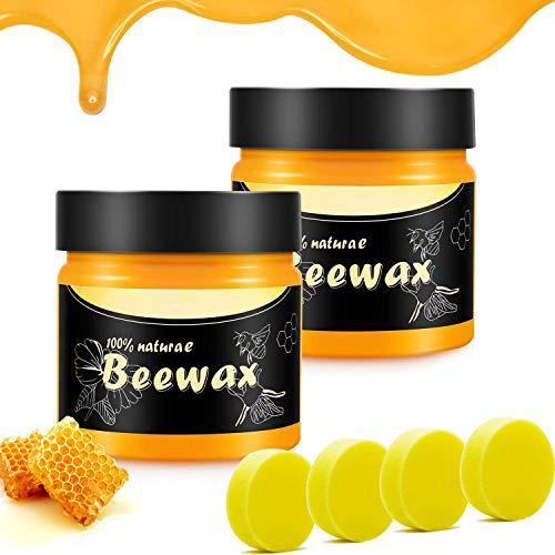Touloube Cera de abejas para el mantenimiento de muebles, cera de pulido multiuso, mantenimiento y pulido, armarios y escaleras, cera de abejas para el mantenimiento de suelos. 2PCS&4 esponjas.