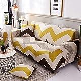 Liziyu Funda de sofá Estampada en Tela para 1 2 3 4 plazas, Couch Cover con una Funda de Almohada Gratis, Ajuste elástico de Spandex con Correa...