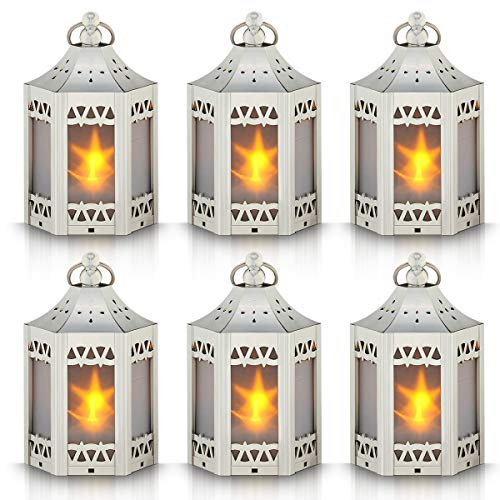 zkee Mini Star Lantern with Flickering LED,Battery Included,Decorative Hanging Lantern,Christmas Decorative Lantern,Indoor Candle Lantern,Battery Lantern Indoor Use, (Set of 6,Silver)