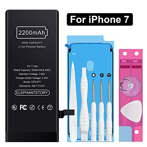 Battery for iPhone 7, High Capacity 2200mAh iPhone 7 Replacement Battery fit for Model A1660, A1778, and A1779 with Complete Repair Tool Kit