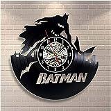 TeenieArt Arkham Knight Reloj de Pared de Vinilo Regalo Original para el hogar Casa para Adultos Dormitorio Cocina Decoración de Pared Accesorio Decoraciones Hechas a Mano para