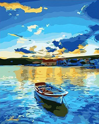 WJGJ Malowanie według numerów zestawy dla dorosłych, DIY zestaw do malowania olejnego na płótnie dla dzieci lub początkujących ze szczotkami akrylowymi pigment rysunek farba 40 x 50 cm (niebieskie jezioro)
