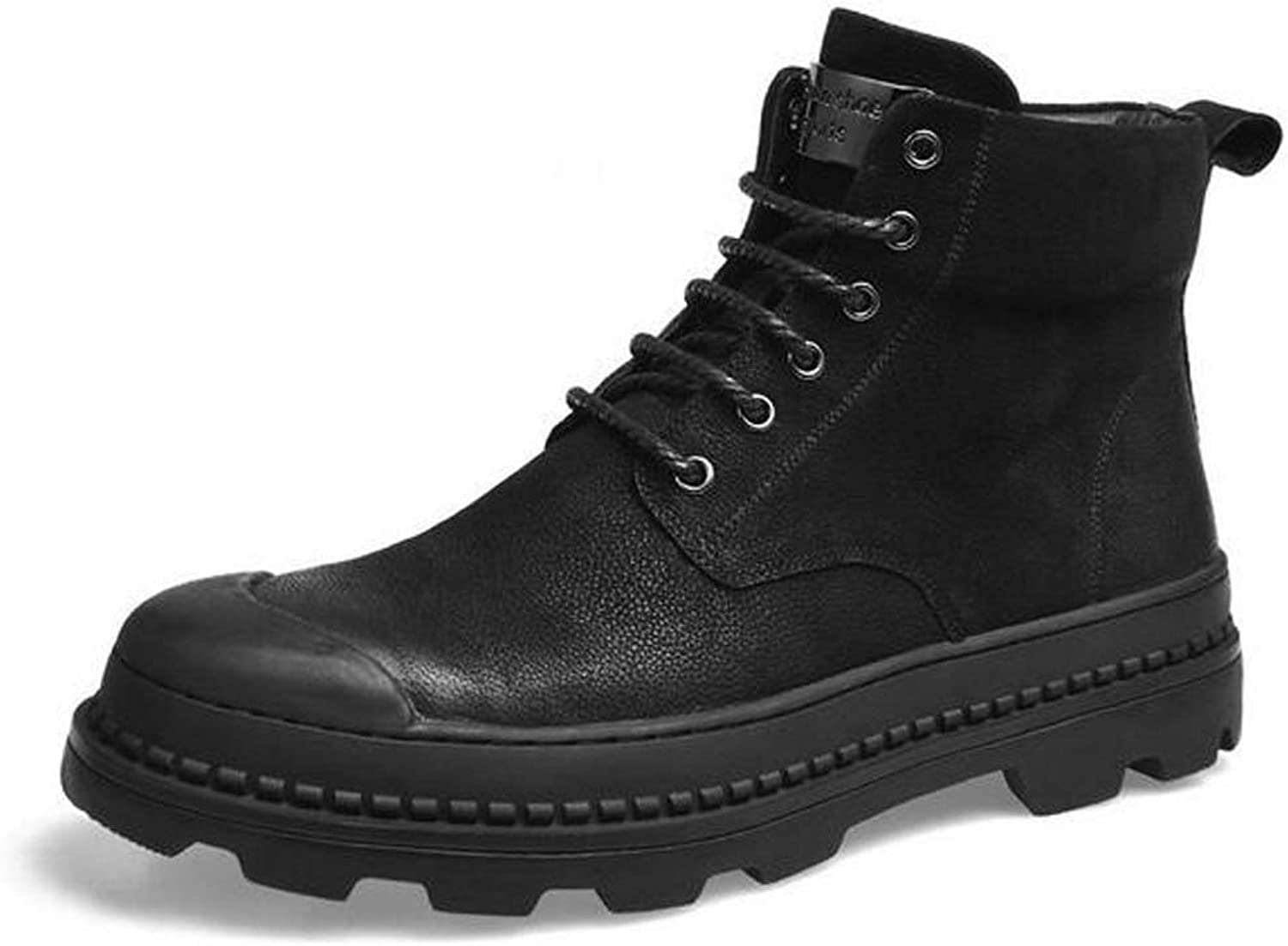 HWG-GAOYZ shoes Men's Martin Ankle Boots Footwear Autumn Winter Retro Outdoor Keep Warm Desert Military Leather Boots Non-slip Breathable,Black-42