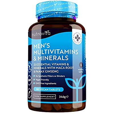 Men's Multivitamins and Minerals - 27 Essential Active Vitamins and Minerals Including Maca Root and Panax Ginseng - 180 Vegan Tablets - No Synthetic Fillers or Binders - Made in The UK by Nutravita