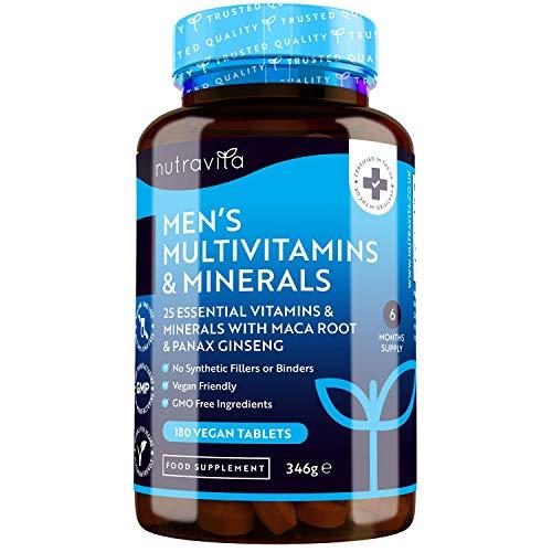 Multivitaminas y Minerales veganas para Hombre - 25 vitaminas y minerales esenciales que incluyen todas las Vitaminas C, biotin, Raíz de Maca y Panax Ginseng - 180 tabletas – Fabricado por Nutravita