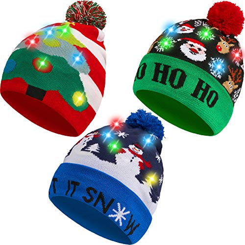 3 Pieces Christmas LED Light Hats Xmas Beanie Hat LED Pom Pom Christmas Hat for Christmas Party
