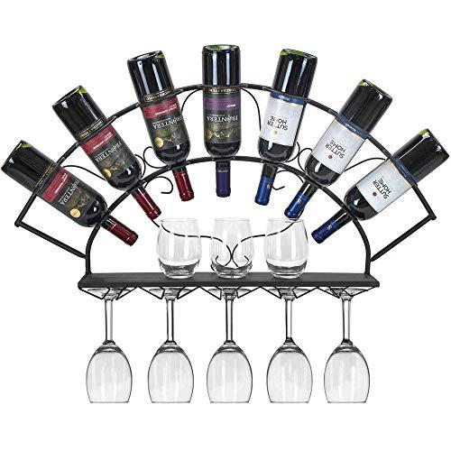 Muebles para el hogar Estante para vino Estante para vino moderno montado en la pared Estantes para copas Estante para vidrio montado en la pared Soporte para almacenamiento de vino colgante de met