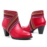 gracosy Bottines Femmes Talons Cuir, Boots Hiver Cuir Synthétique à Talons Hauts Moyen Bottes Classique Chaussures Montante Soulier Santiags Rouge 37