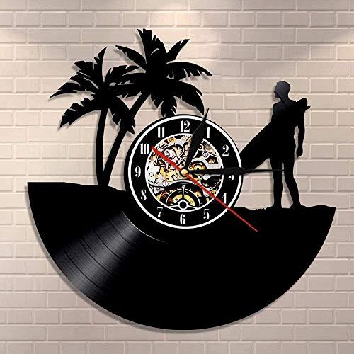 RFTGH Hawaii Personalidad Surf Reloj de Pared Disco de Vinilo Reloj de Pared Tabla de Surf Playa Personalidad Retro Creativo Regalo de Surf