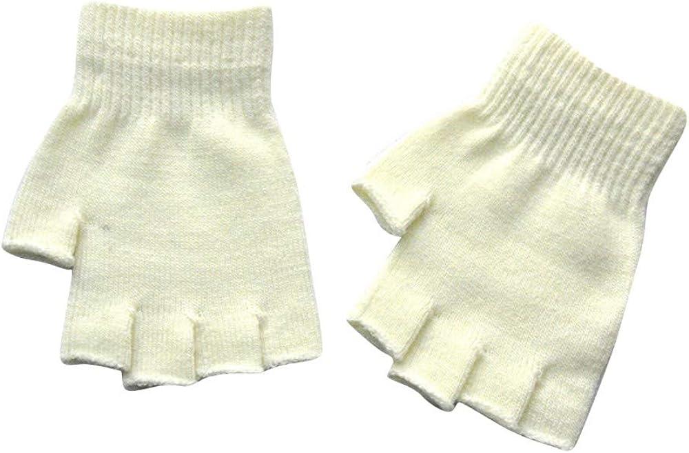 GREFER Unisex Plain Basic Fingerless Winter Gloves - Cold Weather Warm Knitted Mittens for Women Men