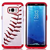 Sunshine - Tech Galaxy S8 Plus Case, Baseball Sports Pattern Shock-Absorption Hard PC and Inner Silicone Hybrid Dual Layer Armor Defender Protective Case Cover for Samsung Galaxy S8 Plus