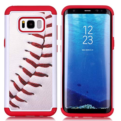 Galaxy S8 Plus Case, Baseball Sports Pattern Shock-Absorption Hard PC and Inner Silicone Hybrid Dual Layer Armor Defender Protective Case Cover for Samsung Galaxy S8 Plus