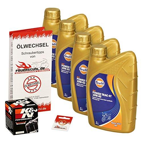 Gulf 10W-40 Öl + K&N Ölfilter für Honda CBR 600 F, 87-00, PC19 PC23 PC25 PC31 PC35 - Ölwechselset inkl. Motoröl, Filter, Dichtring