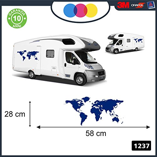mural stickers 1 Adesivo Blu - Mondo - Pianeta -Planisfero - Camper, FURGONI E Van - - - cod. 1237