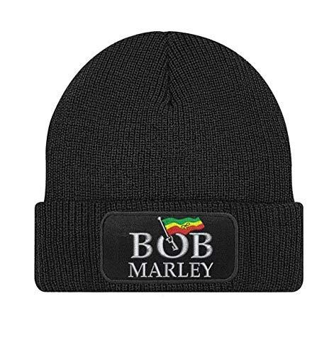 Natshop2000 Bob Marley rockband geborduurd logo beanie gebreide muts - STICK152