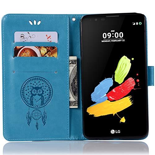 LG Stylus 2 Lederhülle, LG Stylus 2 Plus Lederhülle, LG G Stylo 2 Brieftaschen-Schutzhülle, Leder-Prägung, mit Kartenfächern für LG Stylus 2 (LS775), LG Stylus 2 Plus, LG G Stylo 2