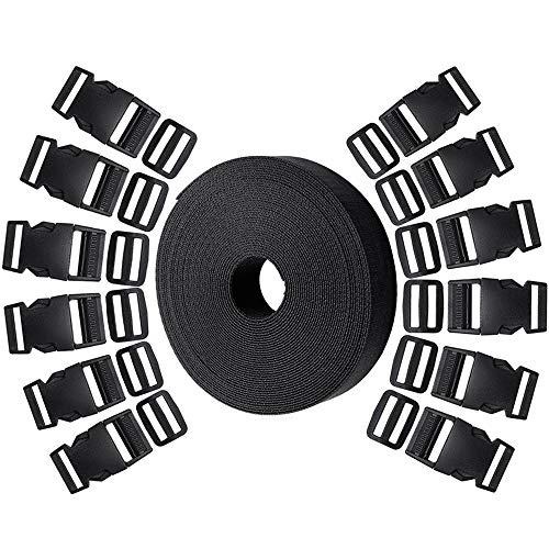 Backpack 1 Inch Nylon Webbing Strap,10 Yards Black Polypropylene Webbing Strap with 20 Sets 1 Inch Side Release Plastic Buckles for DIY Making Luggage Strap Pet Collar
