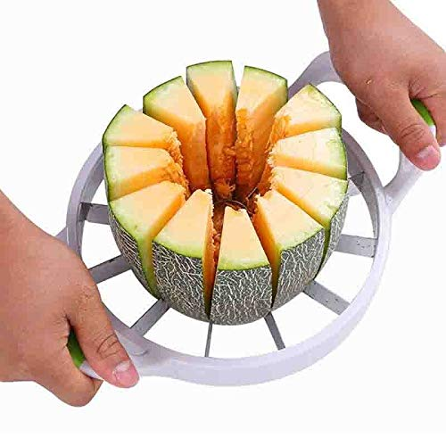 Meijin Large Kitchen Practical Tools Creative Watermelon Slicer Melon Cutter Knife Stainless Steel Fruit Cutting Slicer (Color : S 32.5X23CM)