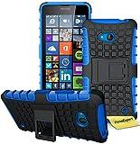 FoneExpert® Microsoft Lumia 640 Handy Tasche, Hülle Abdeckung Cover schutzhülle Tough Strong Rugged Shock Proof Heavy Duty Case für Microsoft Lumia 640 + Bildschirmschutzfolie (Blau)