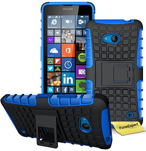 FoneExpert® Microsoft Lumia 640 Handy Tasche, Hülle Abdeckung Cover schutzhülle Tough Strong Rugged Shock Proof Heavy Duty Case für Microsoft Lumia 640 + Displayschutzfolie (Blau)